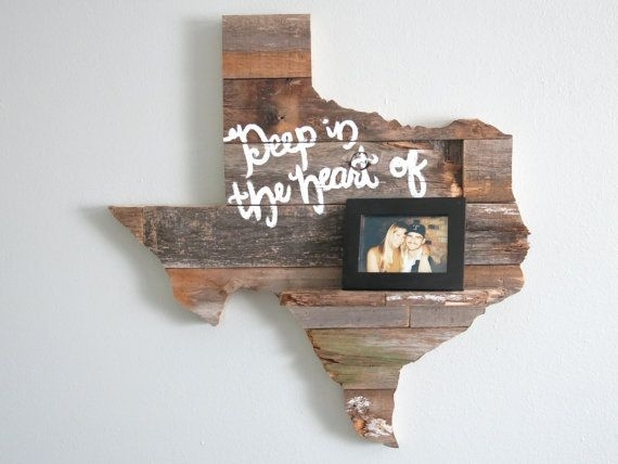 "Reclaimed Wood Texas Wall Art 24"" With Shelf 