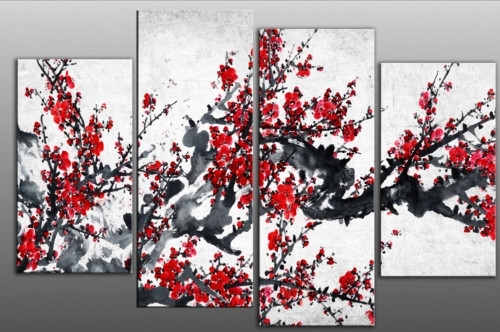 Red Chinese Blossom Tree Split Panel Canvas Wall Art Intended For Chinese Wall Art (Photo 2 of 10)