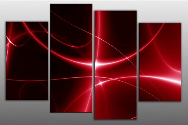 Red Lights Abstract 4 Panel Wall Art Picture 40 Inch 101Cm For Red Wall Art (Photo 1 of 10)