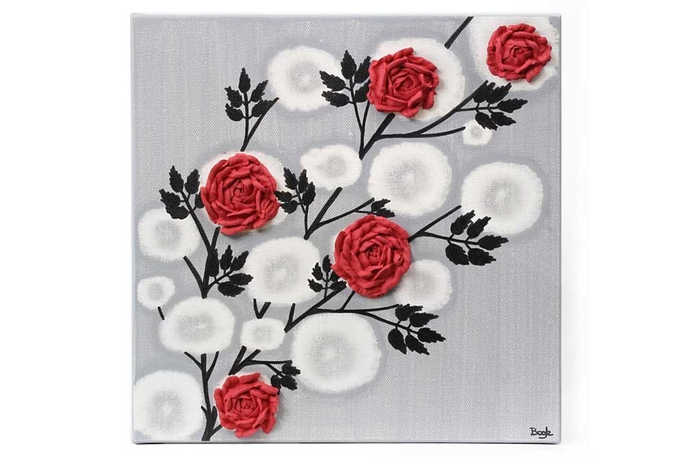 Red Rose Wall Art Painting On Gray And Black Canvas – Small | Amborela Pertaining To Red Wall Art (View 10 of 10)