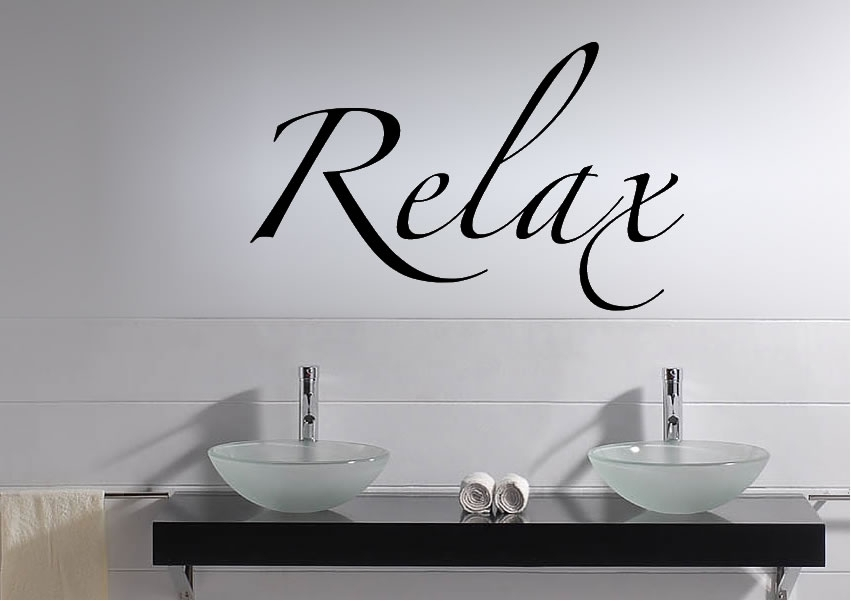 Relax Text Quotes Wall Stickers Adhesive Wall Sticker Within Relax Wall Art (Photo 3 of 10)