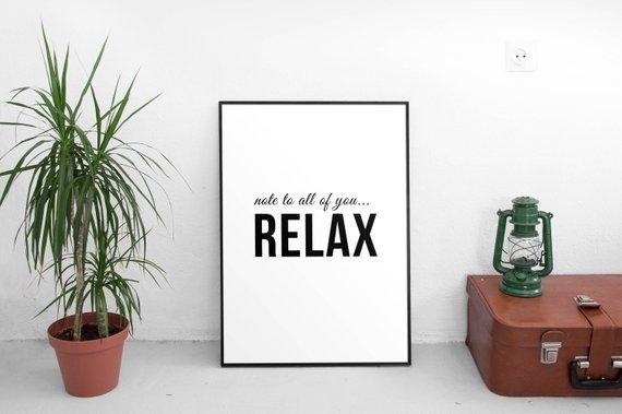 Relax Wall Art Decor Relax Print Minimal Wall Art Minimal | Etsy Intended For Relax Wall Art (Photo 4 of 10)