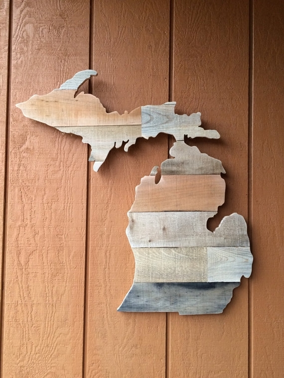 Remarkable Decoration Michigan Wall Art Amazon Com Rustic Wood State Pertaining To Michigan Wall Art (View 6 of 10)
