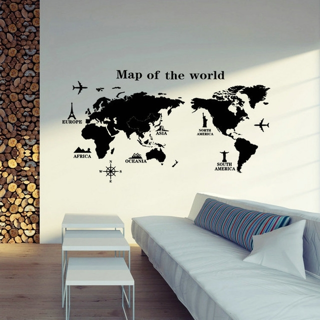 Removable Pvc Vinyl Art Room World Map Decal Mural Home Decor Diy Throughout Wall Art World Map (View 7 of 10)