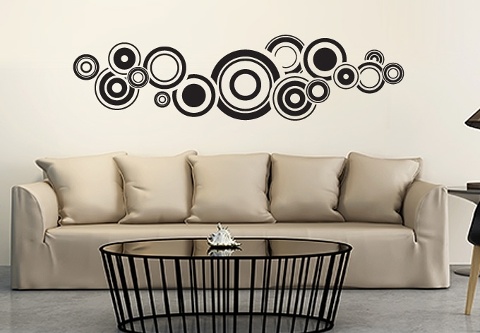 Retro Bubbles Wall Sticker – Fantastic Circle Vinyl Art Pertaining To Circle Wall Art (Image 6 of 10)