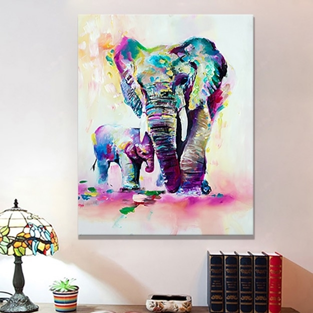 Retro Elephant Canvas Wall Art | Bargainfindsonebay With Regard To Elephant Canvas Wall Art (Image 8 of 10)