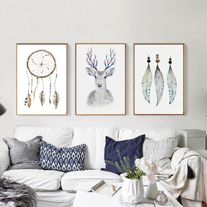 Retro Tribal Canvas Paintings Deer Posters Prints Nordic Pop Wall Throughout Popular Wall Art (Image 10 of 10)