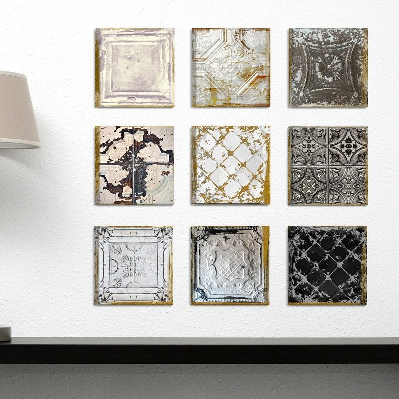 Rosdorf Park 'vintage Tin Tiles' 9 Piece Canvas Wall Art Set Inside Tile Canvas Wall Art (Image 8 of 10)