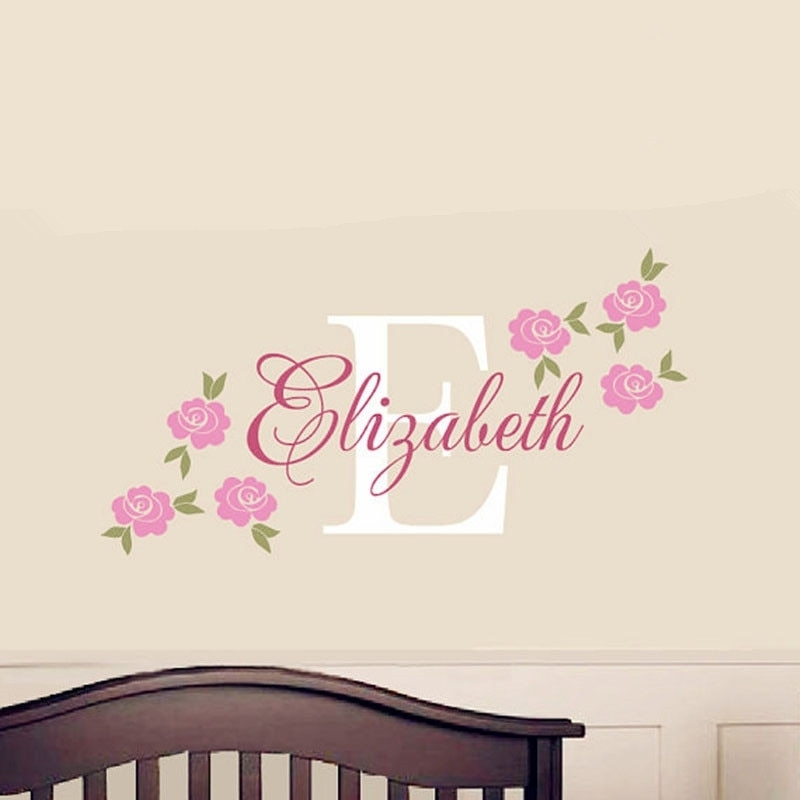 Rose Decal Custom Name Wall Sticker Girl Nursery Children Bedroom Inside Name Wall Art (Image 8 of 10)