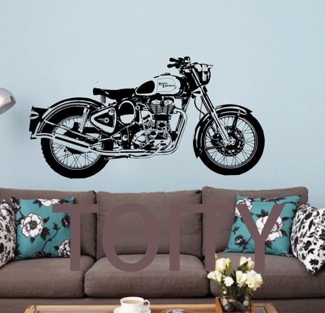Royal Enfield Motorbike Wall Art Sticker Classic English Motorcycle For Motorcycle Wall Art (Image 7 of 10)