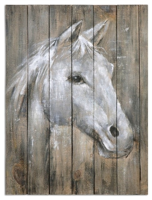 Rustic Reclaimed Wood Horse Wall Art – Farmhouse – Paintings  My Within Horse Wall Art (Image 6 of 10)