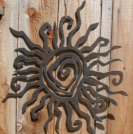 "Rustic Sun Wall Decor 24"" Recycled Steel Custom Sun Metal Sun | I Regarding Outdoor Metal Wall Art (Photo 10 of 10)"