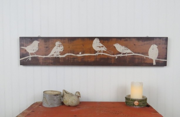 Rustic Wooden Wall Art – Hand Painted Birds On Reclaimed Wood | Aftcra Regarding Wooden Wall Art (Photo 7 of 10)