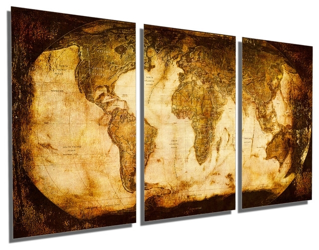 Rustic World Map Metal Print Wall Art 3 Panel Split, Triptych Wall With Triptych Wall Art (Image 6 of 10)