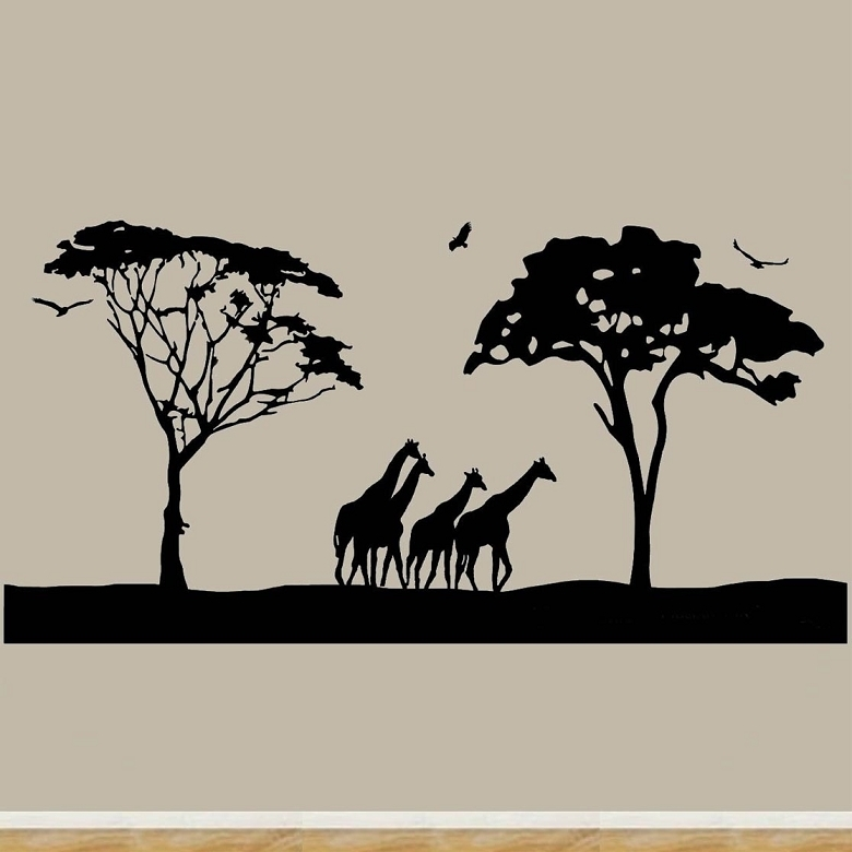 Safari Wall Art Decals Large Animal Wall Decor Giraffes Stickers For Stick On Wall Art (Image 6 of 10)