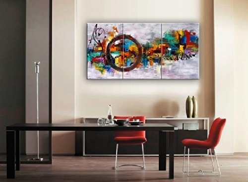 Santin Art Circle Of Magic Modern Canvas Art Wall Decor Abstract Oil With Canvas Wall Art (Image 9 of 10)
