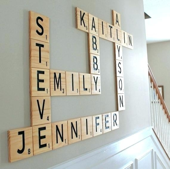 Scrabble Letter Wall Decor Wall Art With Letters Carved Scrabble Intended For Scrabble Wall Art (Image 7 of 10)