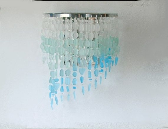 Sea Glass Wall Sconce Coastal Decor Beach Glass Sconce Wall Light Intended For Sea Glass Wall Art (Image 10 of 10)
