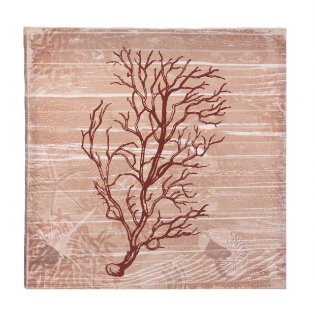 Sea Swept Coral Canvas Wall Art Red Under The Sea Style Wooden Frame Throughout Coral Wall Art (Image 9 of 10)