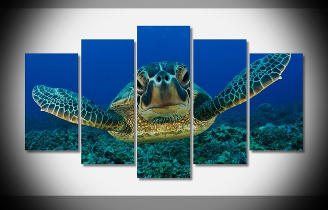 Sea Turtle Seabed Looking Marine 5 Pieces/sets Canvas Art Canvas With Regard To Sea Turtle Canvas Wall Art (Image 6 of 10)