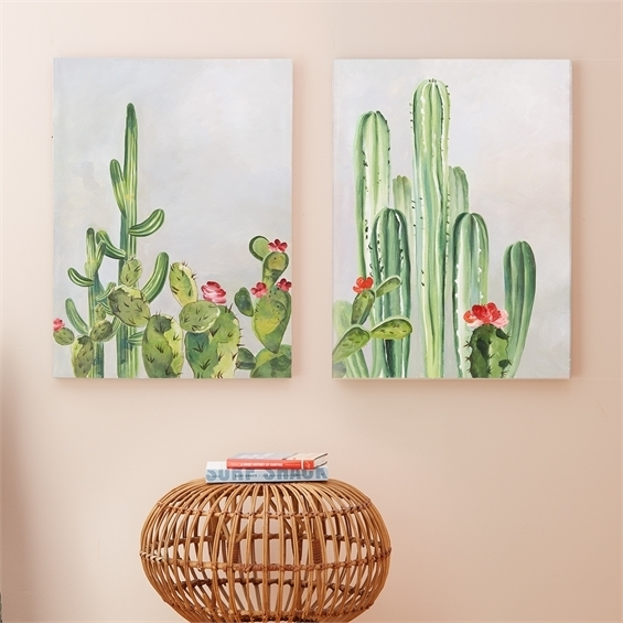 Set Of 2 Cacti Wall Art Throughout Cactus Wall Art (View 5 of 10)