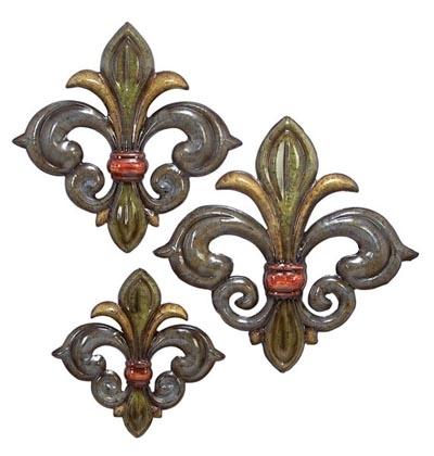 Set Of 3 Fleur De Lis Wall Decor – Globe Imports Regarding Fleur De Lis Wall Art (Image 9 of 10)