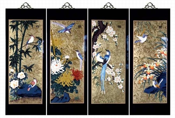 Set Of 4 Oriental Lacquered Painting Wall Art Plaques (Four Seasons) Med Pertaining To Oriental Wall Art (View 8 of 10)