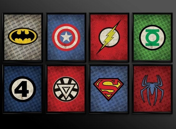 Set Of 8 Superhero Wall Art Decor Supermanthecuttingedgeshop Pertaining To Superhero Wall Art (Image 5 of 10)