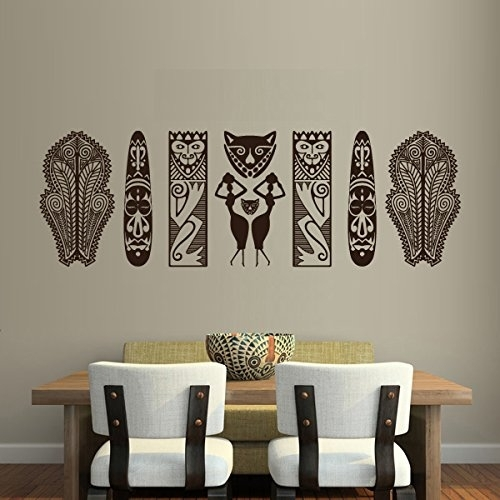 "Set Of African Tribal Masks And Figures Wall Decal – 45"" X 15"" – Art Intended For African Wall Art (View 3 of 10)"