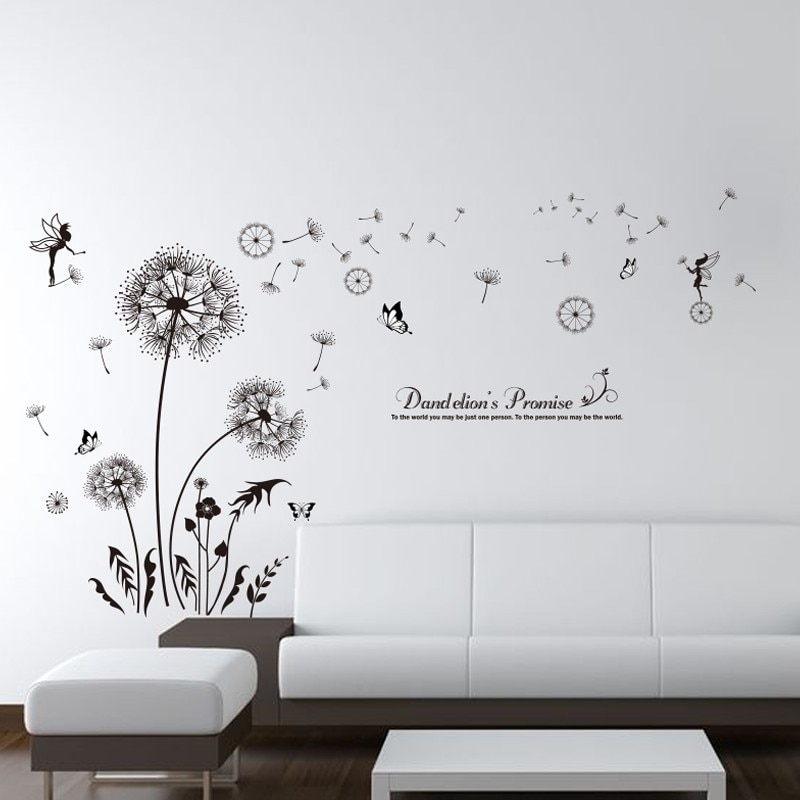 Shijuehezi] Black Color Dandelions Wall Stickers Pvc Material Diy For Dandelion Wall Art (View 2 of 10)