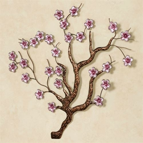 Shimmering Cherry Blossoms Metal Wall Art Within Cherry Blossom Wall Art (Image 7 of 10)