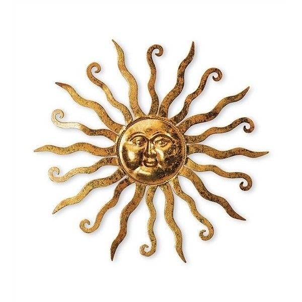 Shimmering Gold Metal Sun Wall Hanging With Etched Swirl Detail ($30 Throughout Gold Metal Wall Art (Image 8 of 10)