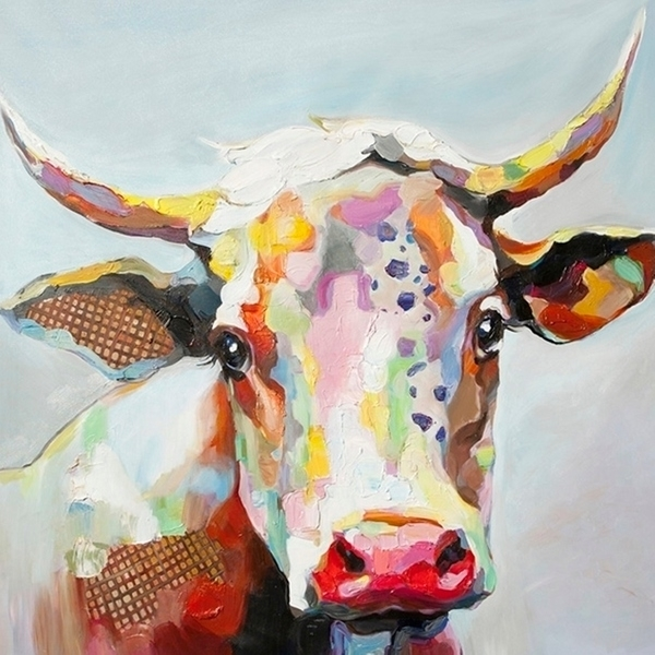 Shop Bessie The Cow Multicolored Stretched Canvas Wall Art – Free Inside Cow Canvas Wall Art (Image 10 of 10)