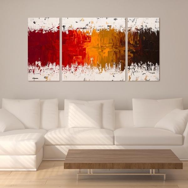 Shop Carmen Guedez 'luminescence' 30X60 Triptych Canvas Wall Art Regarding Triptych Wall Art (Image 7 of 10)