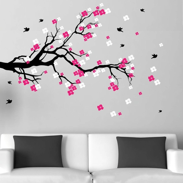 Shop Cherry Blossom Branch With Birds Vinyl Wall Art Decal – Free For Cherry Blossom Wall Art (Image 8 of 10)