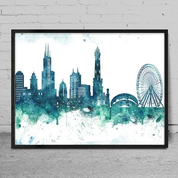 Shop Chicago Skyline Wall Art On Wanelo Within Chicago Wall Art (Image 10 of 10)