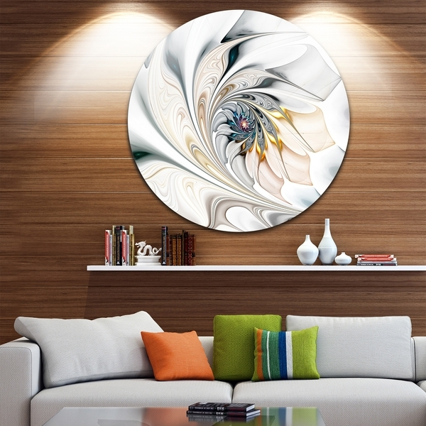 Shop Designart 'white Stained Glass Floral Art' Floral Circle Metal With Overstock Wall Art (Image 7 of 10)