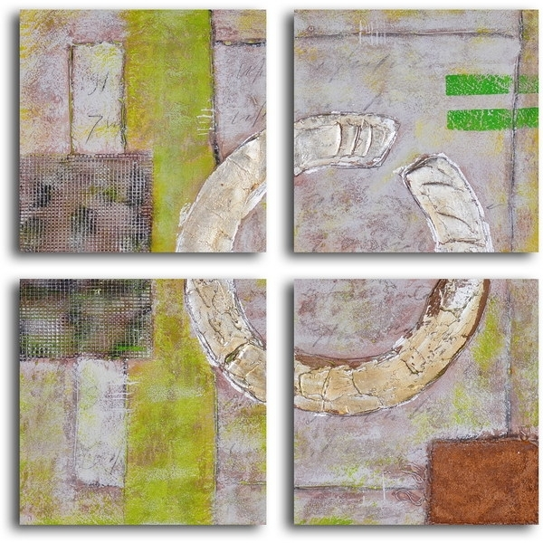 "Shop Hand Painted ""embossed Gold On Tiles"" Canvas Wall Art – Free Regarding Tile Canvas Wall Art (Image 9 of 10)"