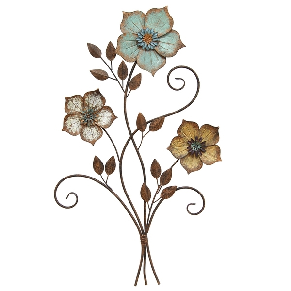 Shop Stratton Home Decor Tricolor Metal Flower Wall Art – Free With Regard To Metal Flower Wall Art (Image 8 of 10)