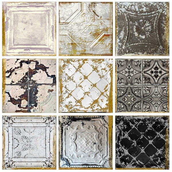 Shop Stupell Industries Vintage Tin Tiles 9Pc Canvas Wall Art Set Pertaining To Tile Canvas Wall Art (Image 10 of 10)