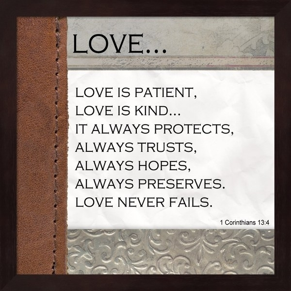 Shop Unknown 'love Is Patient, Love Is Kind' Black Mahogany Frame Within Love Is Patient Wall Art (Image 10 of 10)