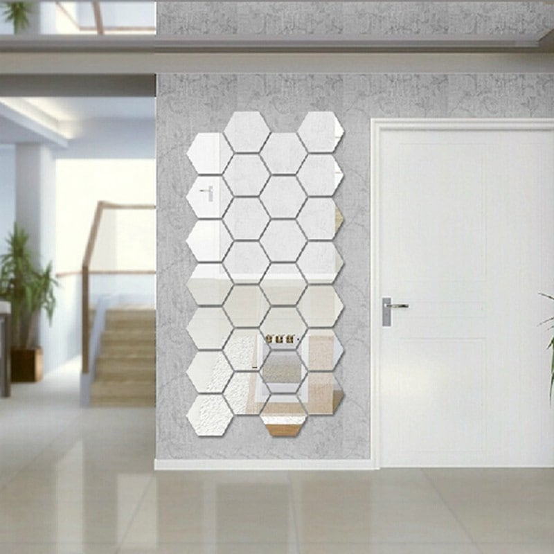 Silver Hexagon 3D Art Diy Mirror Wall Stickers For Home Wall Decal Pertaining To Mirror Wall Art (View 10 of 10)