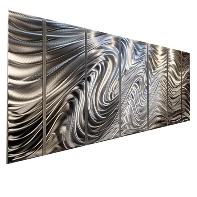 Silver Modern Abstract Metal Wall Art Office Decorjon Allen Intended For Silver Metal Wall Art (Image 10 of 10)