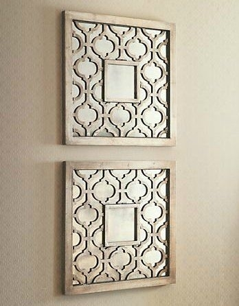 Silver Square Fretwork Wood Mirror Wall Art Pair Fantastic Home Intended For Mirrored Wall Art (Image 9 of 10)