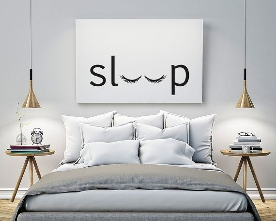Sleep – Bedroom – Printable Poster – Typography Print Black & White With Regard To Art For Walls (Image 7 of 10)