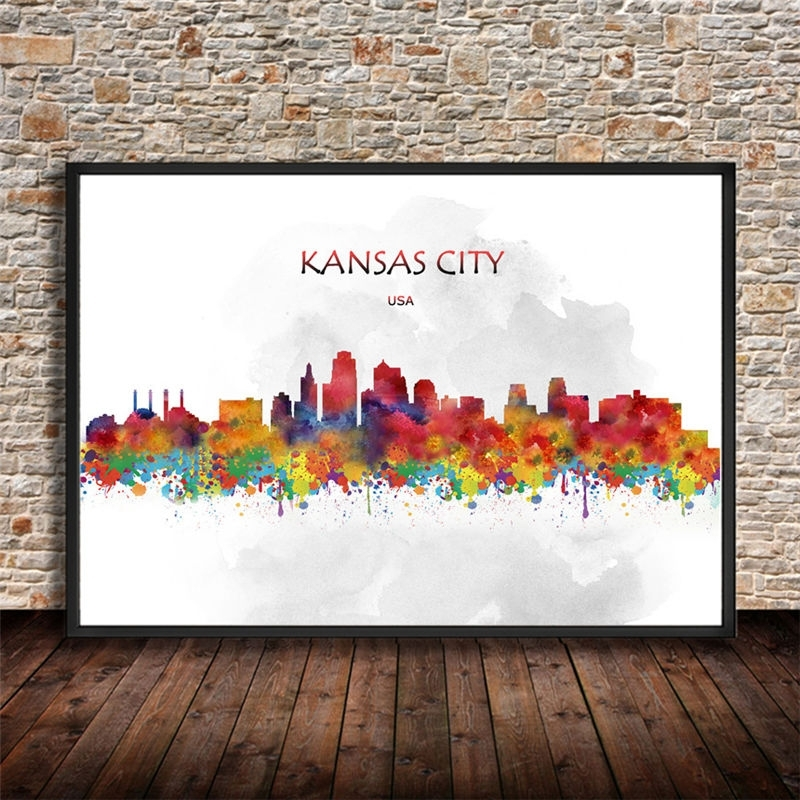 Smartness Design Kansas City Wall Art New Trends Watercolor Skyline For Kansas City Wall Art (Image 9 of 10)