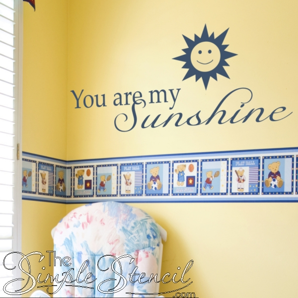 Smiling Sun Wall Decal | You Are My Sunshine Wall Quote | Simple Within You Are My Sunshine Wall Art (Image 5 of 10)
