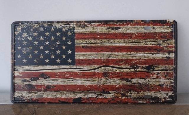 Sp Cp 518 The American Flag License Plates Plate Vintage Metal Tin With Vintage American Flag Wall Art (View 3 of 10)