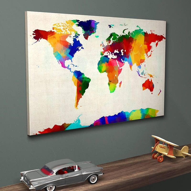 Sponge Paint Map Of The World Art Printartpause With Regard To Map Of The World Wall Art (Image 7 of 10)