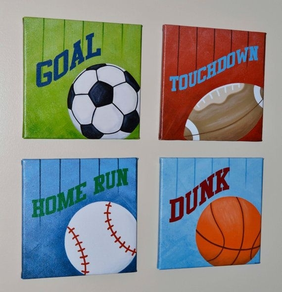 Sports Set Of 4 Gallery Wrapped Canvas Wall Art | For The Boys For Sports Wall Art (Image 6 of 10)